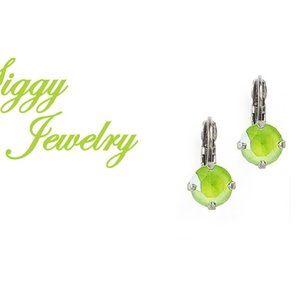 Swarovski® Crystal Drop Earrings, 8mm Lime Green